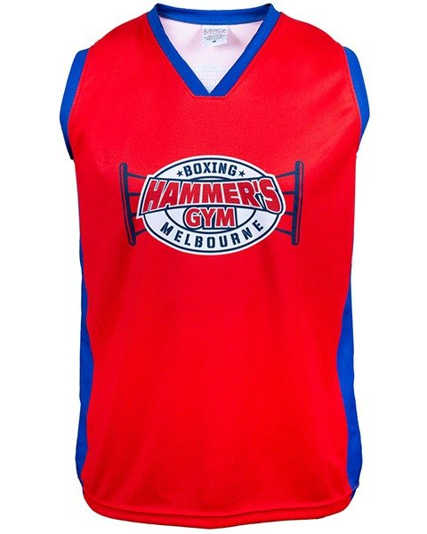 Hammers Gym RED boxing ring logo - basketball singlet 1
