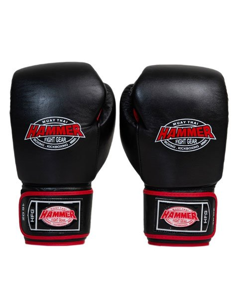 Adult leather Red and Black 16oz gloves 1